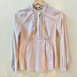 J.Crew Blouse Striped w/Ruffles Lavender Size 2